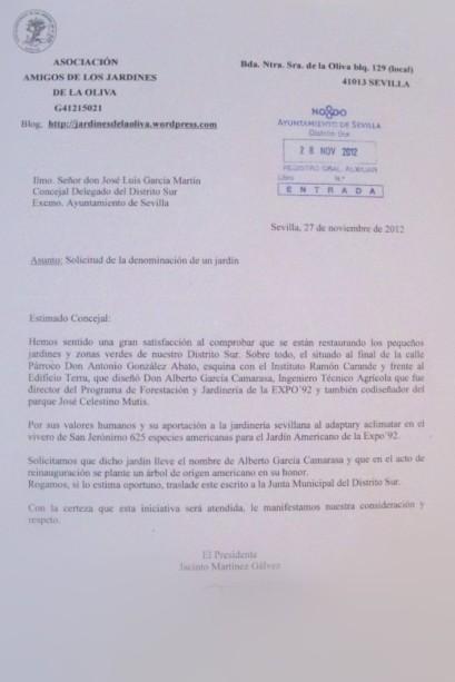 Escrito solicitando que el jardín lleve el nombre de Alberto García Camarasa