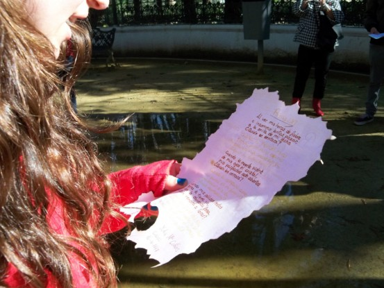 Detalle del folio donde están escritas las rimas.