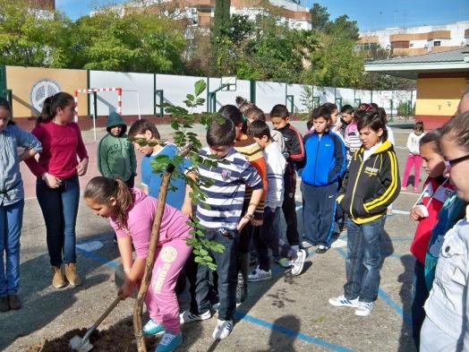 Todos los alumnos participaron y echaron una palada de tierra al fresno de Oregón