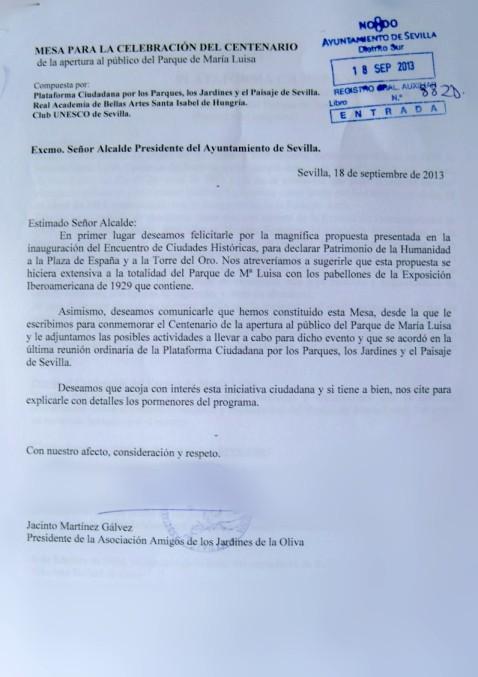 Escrito al alcalde de Sevilla