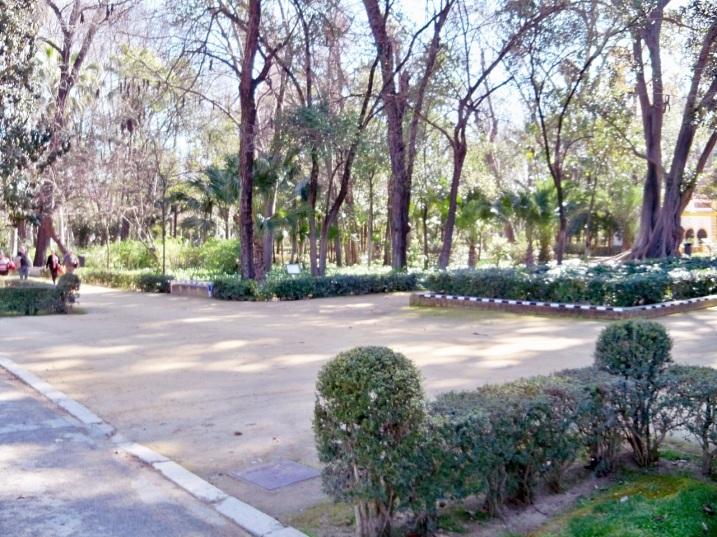 Lugar escogido para el monumento a J,C.N. Forestier en la avenida Rodríguez Caso del Parque de María Luisa