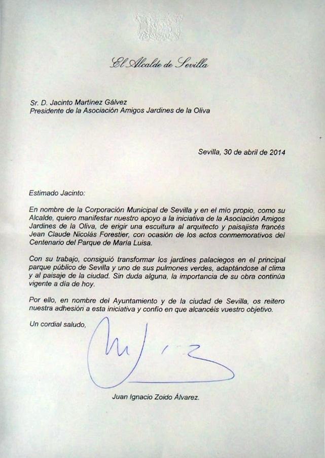 Carta del Alcalde de Sevilla