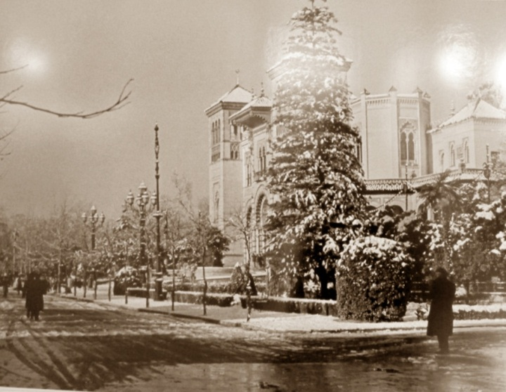 Nieva en el Parque de María Luisa (2 de febrero de 1954)