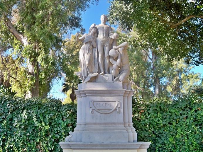 El Genio muestra a Minerva, diosa de la Sabiduría, que acompaña a un joven y la otra figura representa a la ignorancia vencida