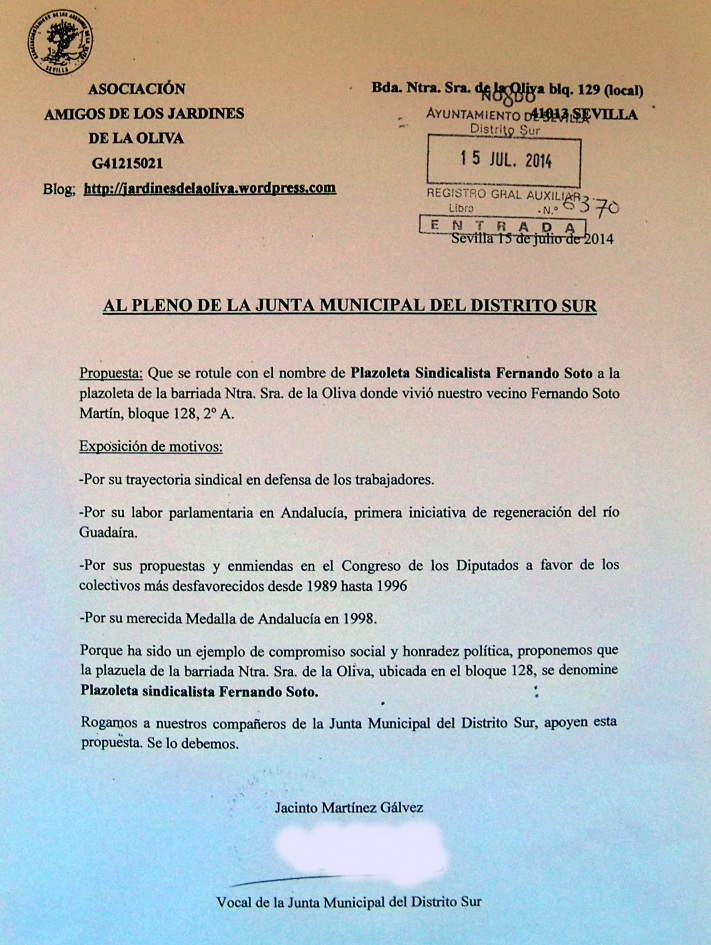 Propuesta enviada al Pleno de la Junta municipal del Distrito Sur por la Asociación Amigos de los Jardines de la Oliva.