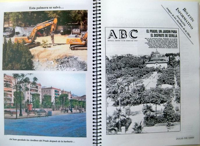 En estas páginas se puede ver un Boletín Informativo que repartíamos en las concentraciones, también vemos una pequeña palmera que sobrevivió al ajetreo de las máquinas pesadas y la fotografía  actual de los jardines recuperados.