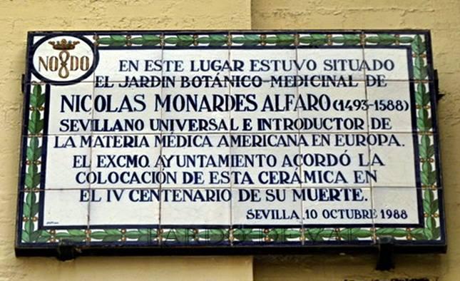 Azulejo que indica dónde estaba el jardín de aclimatación de Nicolás Monardes.