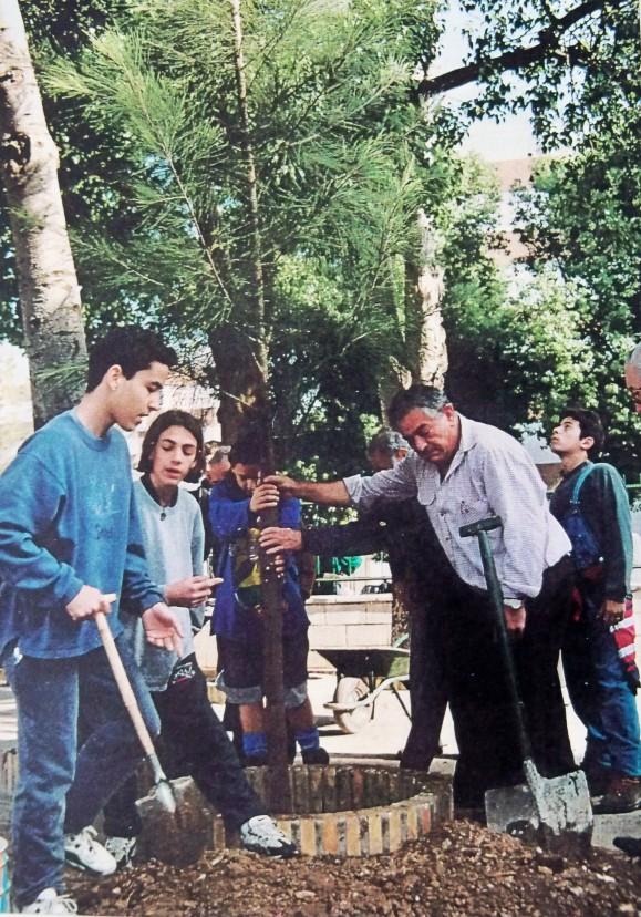 El 25 de febrero de 1997, plantamos una casuarina en el patio del recreo del colegio Manuel Canela.