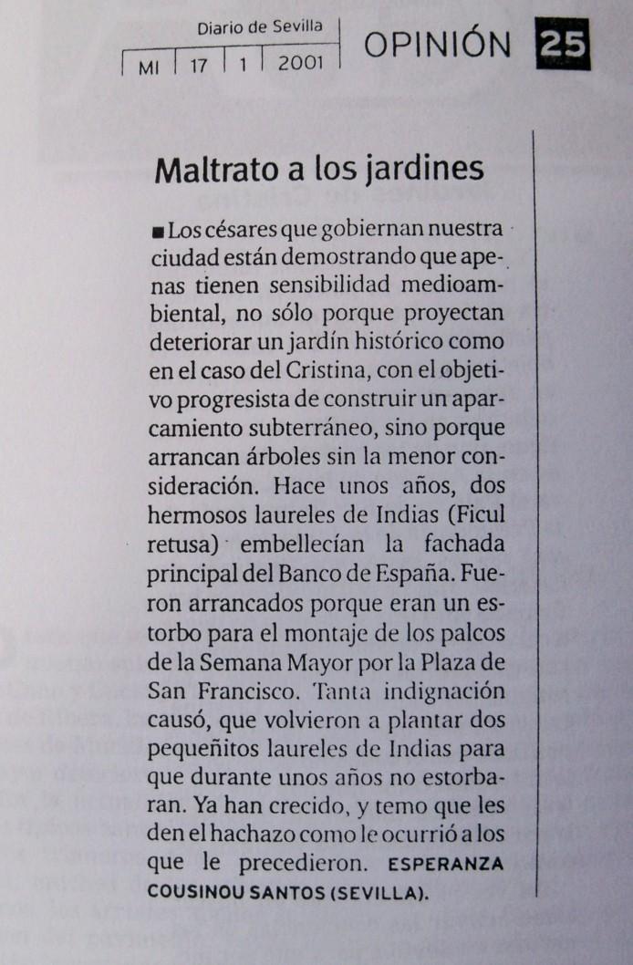 Carta al director, publicada el 17 de enero de 2001, donde nuestra socia Esperanza Cousinou, profetizaba el destino de estos laureles de Indias.