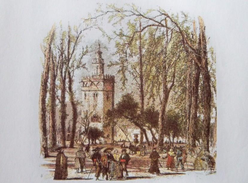Litografía de 1850 (la alta sociedad)  El estado social y costumbres en tiempo del Salón de Cristina, tenemos referencias gracias a los viajeros románticos. Según Teófilo Gautier