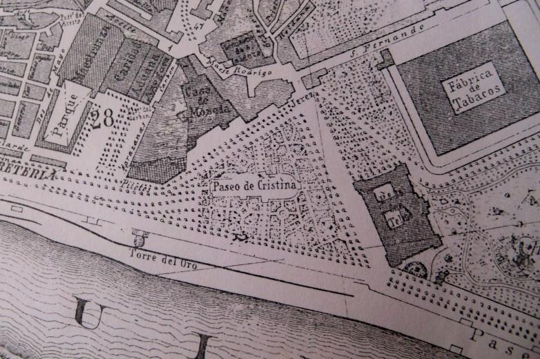 Los Jardines de Cristina en el plano de 1868 de D. Manuel älvarez-Benavides.
