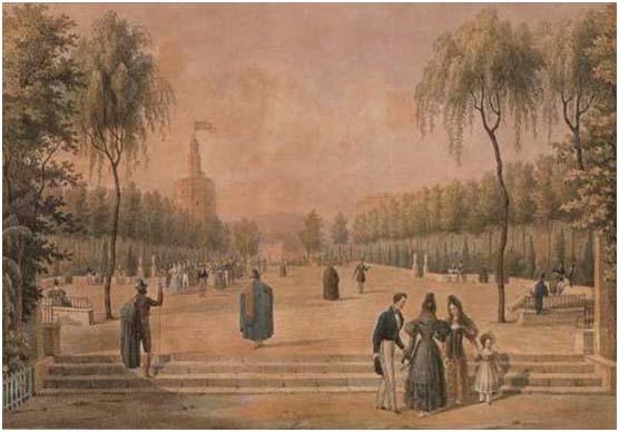 Litografía del Salón de Cristina, año 1833.
