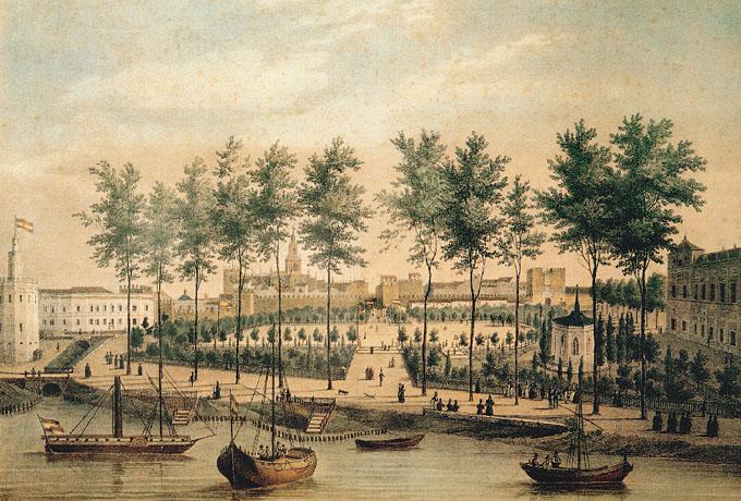 Litografía de 1833. El embarcadero de vapores se construyó 1830. Cuando se construyó el aparcamiento subterráneo de la Avda. de Roma, se descubrió en ese mismo lugar el puerto romano de Hispalis...Desconocemos su paradero...