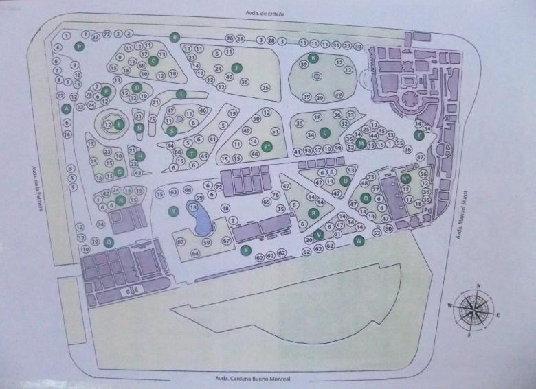 Plano de la Casa Rosa y ubicación de las especies botánicas