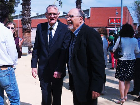 Alberto con Jacinto Martínez en la inauguración del jardín dedicado a Alberto García Camarasa.