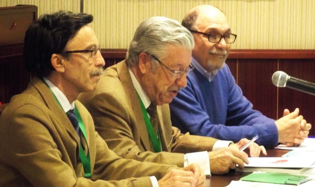 El Director del Curso: Antonio Bustos Rodríguez, con e Secretario Pedro Romero y el ponente Jacinto Martínez