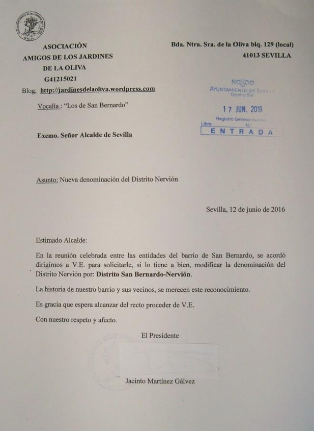 """Escrito de solicitud enviado por la Vocalía """"Los de San Bernardo"""""""