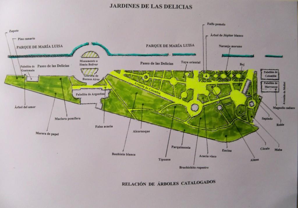 Plano de los Jardines de las Delicias y la ubicación de los árboles singulares que contiene.