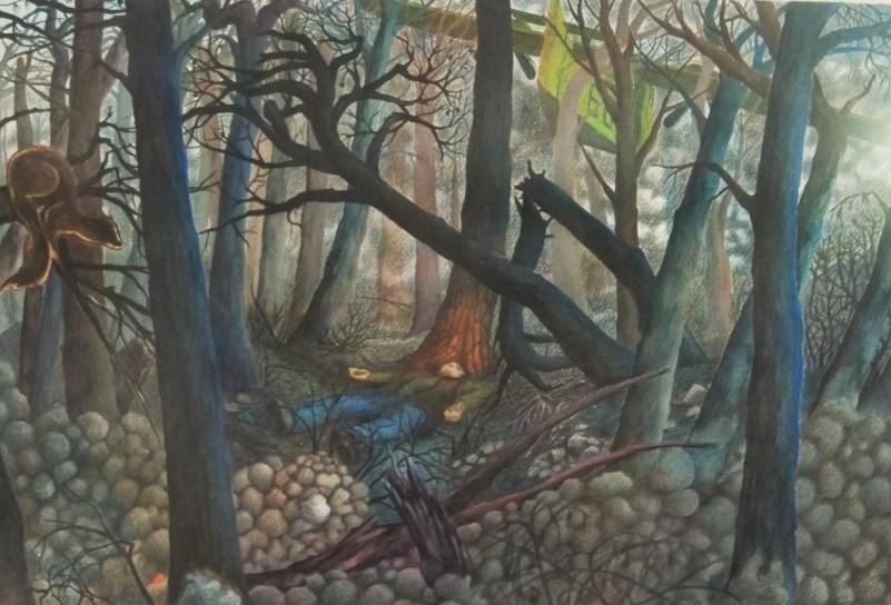 Cuadro pintado por mi hijo en los años noventa...donde expresa la desgracia de los incendios forestales.