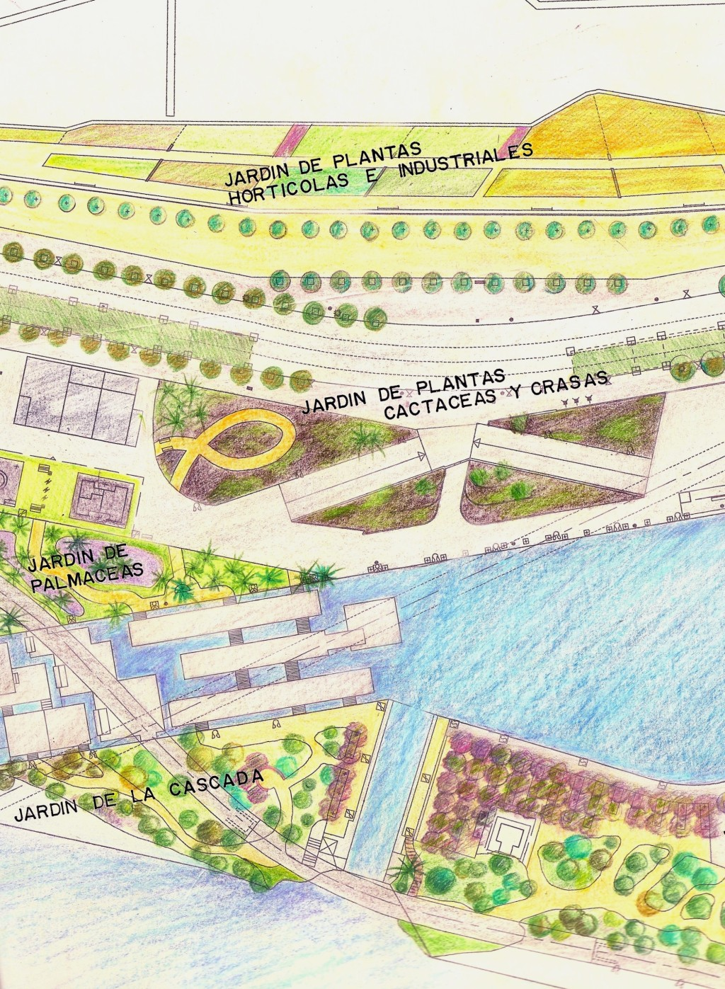 Dibujos de Ricardo Librero, indicado la ubicación de las plantas...