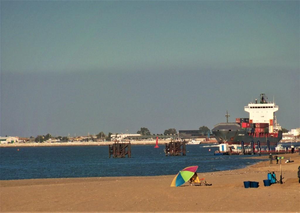 El carguero que vimos desde la orilla de la playa.