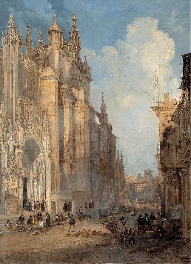 Catedral de Sevilla por el lado de las gradas. Año 1835. obra del Genaro Pérez Villaamil.