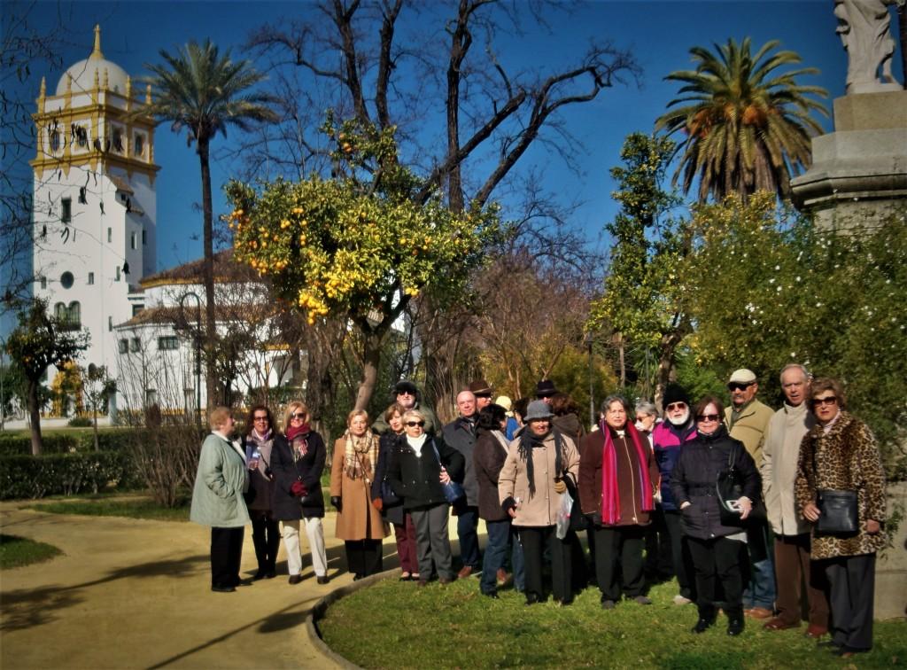 Jardines de las Delicias, al fondo el Pabellón de Argentina de la Exposición Iberoamericana de 1929.